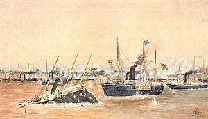 Battle of the Riachuelo - Battle of Riachuelo. The Brazilian corvette Amazonas rams and sinks the Paraguayan Jejuy.
