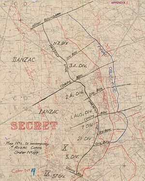 Actions of 30 September – 4 October 1917 - Image: Battle of Broodseinde rough attack planning map