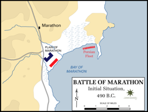 The initial positions of the troops before the clash. The Greeks (blue) have pulled up their wings to bolster the corners of their significantly smaller centre in a ]] shape. The Persian fleet (red) waits some way off to the east. This great distance to the ships played a crucial role in the later stages of the battle.