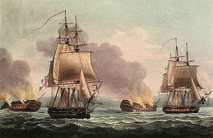 Four sailing ships in the aftermath of battle, with two afloat in fairly good repair flying British flags, and two grounded on shore, dismasted and on fire