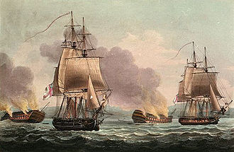 Battle of San Domingo - Sir J.T. Duckworth's Action off San Domingo, Feb. 7 8th 1806, Thomas Whitcombe, 1817, National Maritime Museum