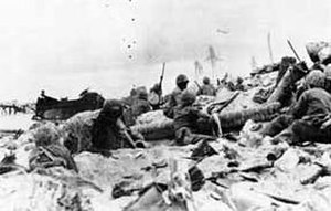 1st Battalion, 6th Marines - Japanese defenders launched a series of banzai attacks against the dug-in Marines of 1/6 during the tough fighting on the interior of Betio Island 1943