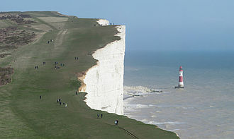 Beachy Head - Looking towards the cliffs and lighthouse from the west near Birling Gap