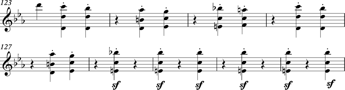 Beethoven, Symphony No.3, first movement, bars 123-131, first violin part Beethoven, Symphony No.3, first movement, bars 123-131, first violin part.png