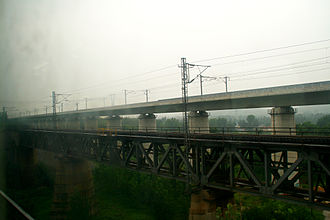 Beijing–Shanghai high-speed railway - The Beijing–Shanghai high-speed railway (on the top) paralleled by the older Beijing–Shanghai Railway (on the bottom).