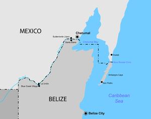 Belize–Mexico border - A map of the Belize–Mexico border.