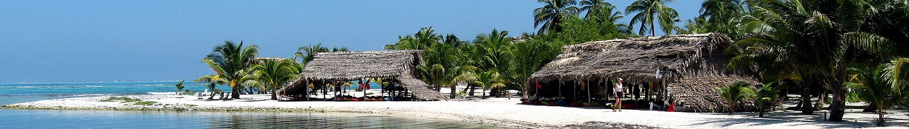 Caye with beach huts and palm trees.