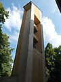 Bell Tower at the Sacred Heart Church, Worm's-eye view. in Gyömrő, Pest County, Hungary.jpg
