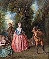 Bemberg Fondation Toulouse - Fête galante représentant une dame dansant avec Pulcinella - Nicolas Lancret Inv.1134 28x23.2.jpg