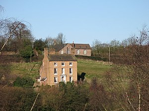 Benthall, Shropshire - Image: Benthall Hilltop House with Floyer Hall in background geograph.org.uk 976820