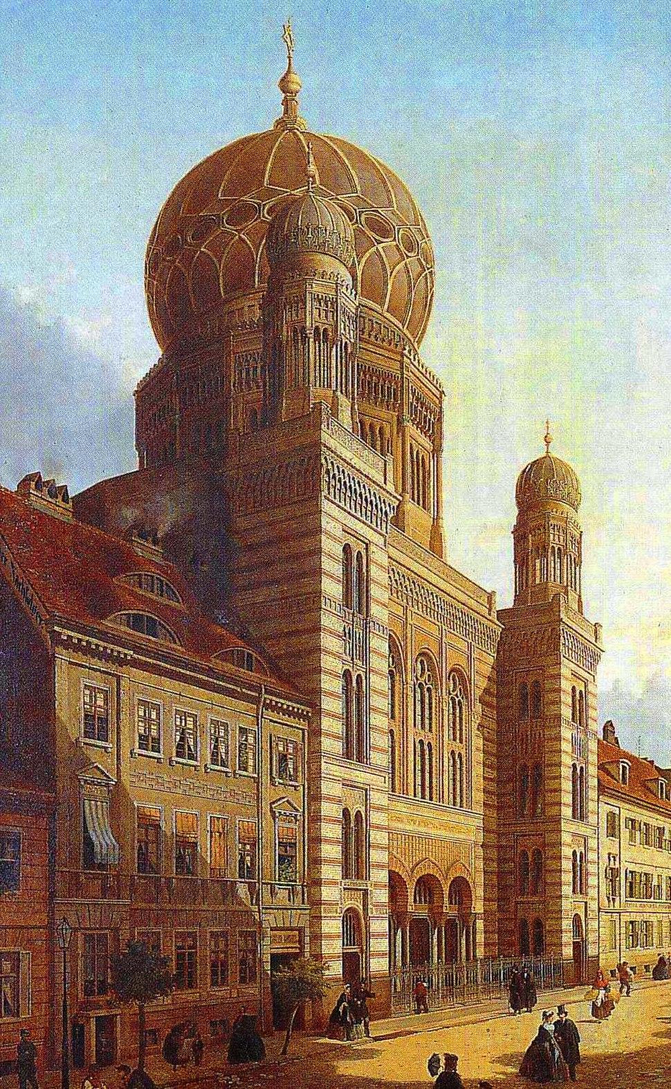 Berlin Neue Synagoge Öl auf Leinwand Emil de Cauwer 1865