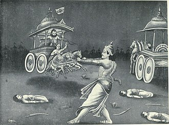 Drona - Drona fighting Bhima on a chariot