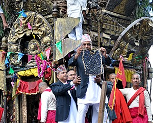 Bunga Dyah Jatra - Showing the vest to the crowds on Bhoto Jatra