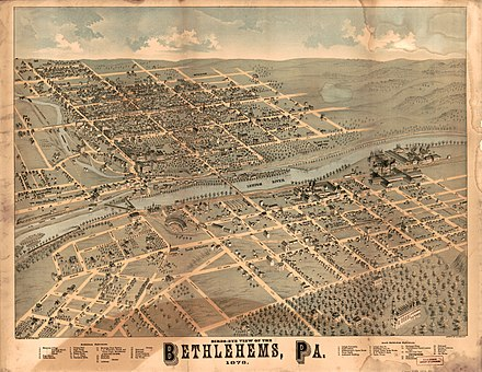 Panoramic map of Bethlehems (1878) Birds-eye view of the Bethlehems, Pa. LOC 2015585060.jpg