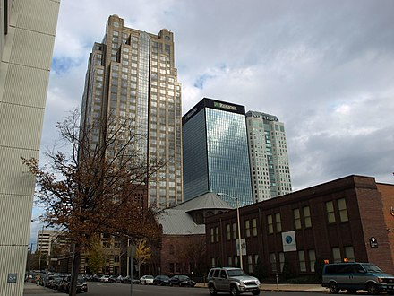 Regions-Harbert Plaza, Regions Center, and Wells Fargo Tower in Birmingham's financial district Birmingham skyscrapers Nov 2011.jpg