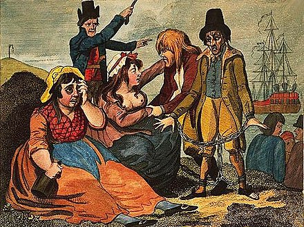 Black-eyed Sue and Sweet Poll of Plymouth, England mourning their lovers who are soon to be transported to Botany Bay (published in London in 1792) Black-eyed Sue and Sweet Poll of Plymouth taking leave of their lovers who are going to Botany Bay.jpeg