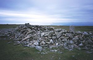 Black Combe - The sprawling cairn on the wide summit of Black Combe
