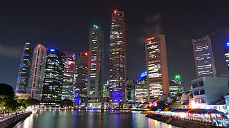 Boat Quay - The quay and the Singapore skyline at night