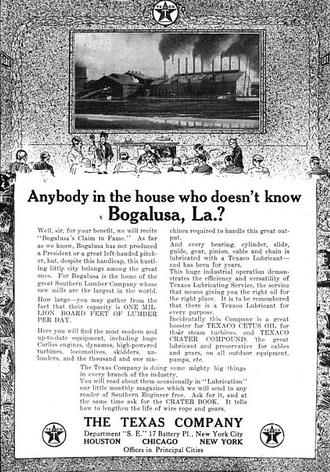 Bogalusa, Louisiana - Ad in Southern Engineer, Volume 27, 1917, promoting Bogalusa