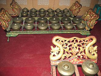 Bonang - Javanese bonang barung (front) and bonang panerus, from STSI Surakarta