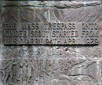 Walking in the United Kingdom - Commemorative plaque of the Mass trespass of Kinder Scout in 1932; an event that led to great expansion of the public right of access to the British countryside.