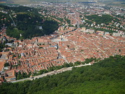 Old Brașov viewed from the top of the Tâmpa Mountain