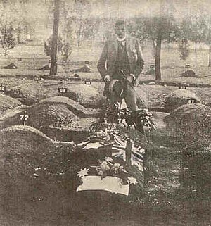Breaker Morant - Major Thomas standing over the grave of Breaker Morant (1902)