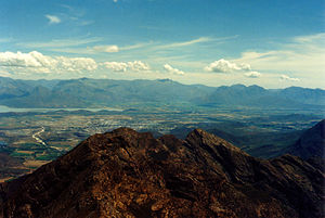 Worcester, Western Cape - View of Worcester and Breede River Valley from Ben Heatlie peak
