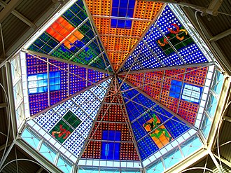 Oldham - The stained glass roof of the Spindles, created by local artist Brian Clarke