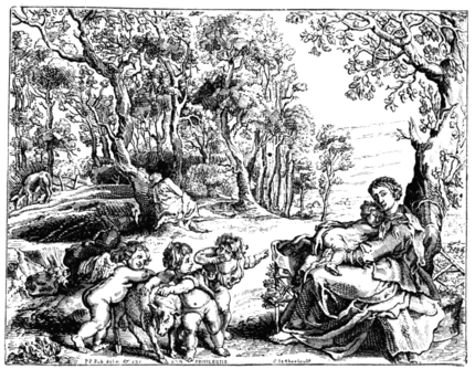 THE FLIGHT INTO EGYPT. BY RUBENS Reduced copy of the engraving by C. Jegher