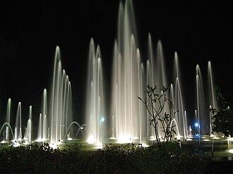 Brindavan Gardens - Fountains at Brindavan Gardens at night