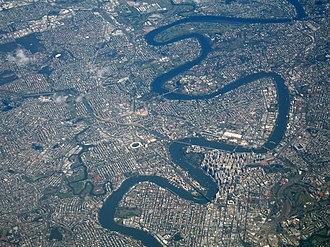Brisbane River - Aerial view of Brisbane and the Brisbane River.