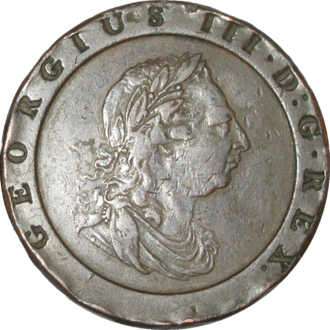 """Conrad Heinrich Küchler - The obverse of the """"cartwheel"""" twopence designed in 1797 by Küchler."""