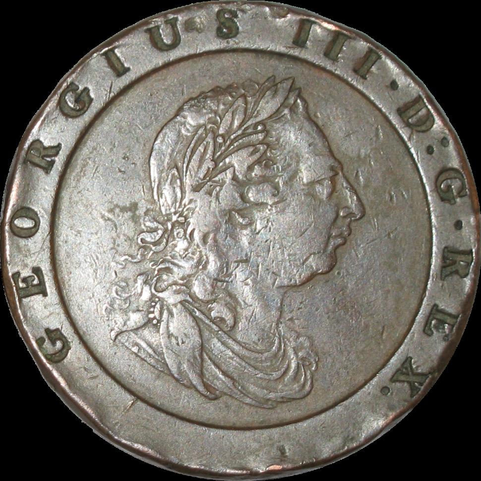 British pre-decimal twopence 1797 obverse