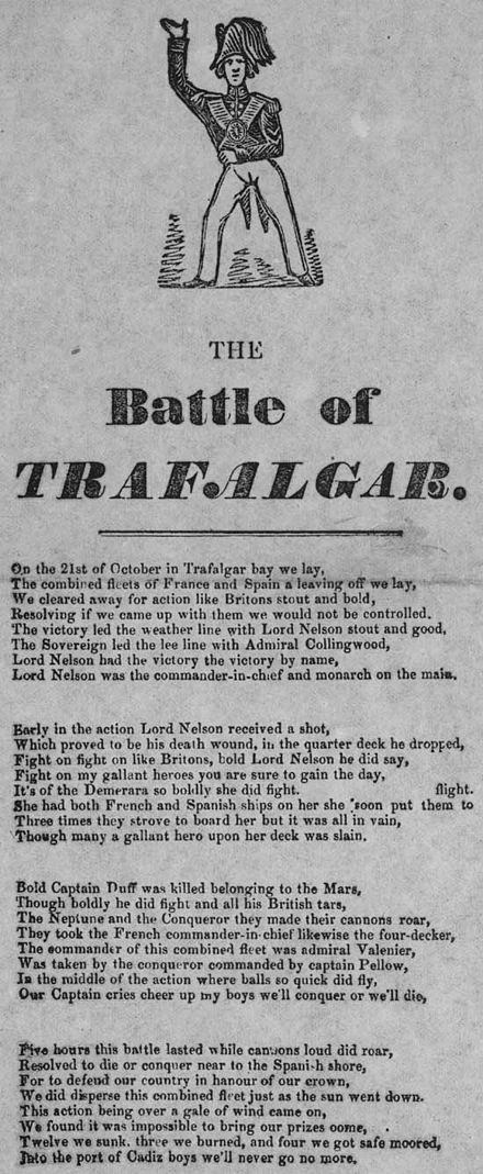 "A broadside from the 1850s recounts the story Broadside titled ""The Battle of Trafalgar"".jpg"