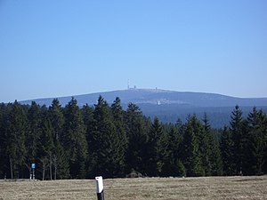 Bundesstraße 242 - View from the Harz highway of the Brocken