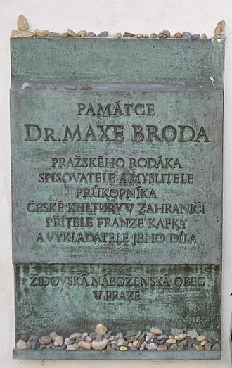 Max Brod - Plaque commemorating Max Brod, next to the grave of Franz Kafka