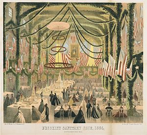 United States Sanitary Commission - The Brooklyn Sanitary Fair, 1864, raised funds for the Commission (colored lithograph)