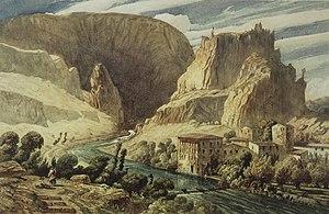 Paul Huet - Paul Huet, Fontaine de Vaucluse, ca. 1839, watercolor, 28.9 × 44.5 cm. Brooklyn Museum