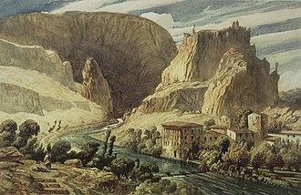 Fontaine de Vaucluse (spring) - Fontaine de Vaucluse, by Paul Huet, c. 1839
