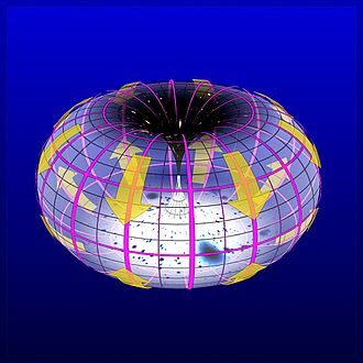 A toroidal model of the universe that has superficial similarity to the theory described in this article. Bryan Brandenburg Big Bang Big Bagel Theory Howard Boom.jpg