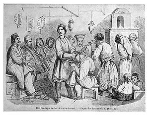 Barber - Barbershop in Bucharest around 1842. Woodcut. As shown in this image, the barbershop also provides an opportunity for social contacts.