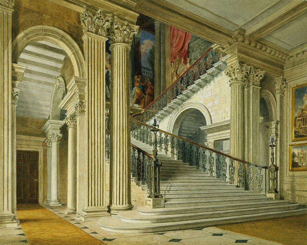 Букингемский дом, лестница из вестибюля, Ричард Каттермол, 1817 - королевский колл 922139 257063 ORI 1.jpg