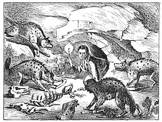 Paleoart - Geologist William Conybeare's 1822 cartoon of William Buckland in a hyena den, intended to honor Buckland's groundbreaking analysis of fossils found at Kirkdale cave