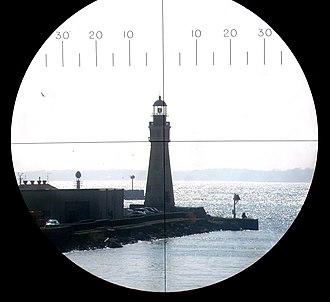 Buffalo Main Light - Buffalo Main Light as seen through a periscope on board the USS Little Rock (CG-4)