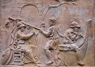 Argonautica - Athena helps build the Argo; Roman moulded terracotta plaque, first century AD