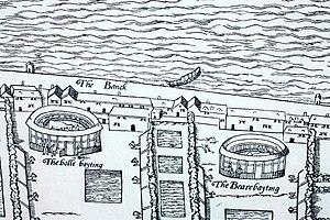 "Pit bull - Bull and bear baiting arenas shown on the ""Woodcut"" map of London of c.1561 (the dogs are shown coming out of pens on each side)"