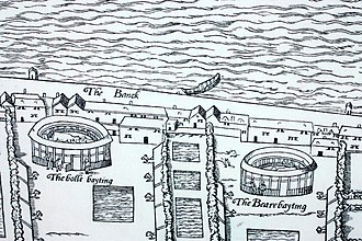 """Bull-baiting - Bull and Bear Baiting arenas shown on the """"woodcut"""" map of London of c.1561 (the dogs are shown coming out of pens to each side)"""