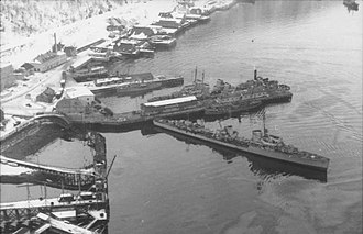 Arctic naval operations of World War II - Destroyers Diether von Roeder and Wolfgang Zenker landing troops at Narvik.