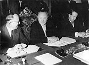 Walter Hallstein, Konrad Adenauer and Herbert Blankenhorn sitting at a conference table